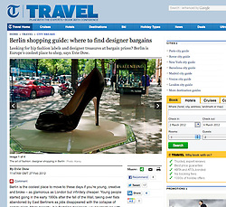 Telegraph travel; designer shoe in display cabinet in Berlin