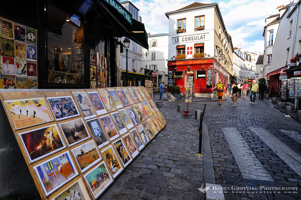 Paris, France. Montmatre has always attracted artists. Close to Sacre-Coeur.