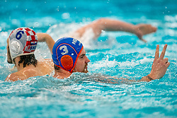 Jorn Winkelhorst of the Netherlands in action against Luka Bukic of Croatia during the Olympic qualifying tournament. The Dutch water polo players are on the hunt for a starting ticket for the Olympic Games on February 15, 2021 in Rotterdam