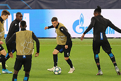 November 5, 2019, Paris, FRANCE: Club's Eder Balanta, Club's Siebe Schrijvers and Club's Simon Deli fight for the ball during a training session of Belgian soccer team Club Brugge KV, Tuesday 05 November 2019 in Paris, France, in preparation of tomorrow's match against French club Paris Saint-Germain Football Club in the first round of the UEFA Champions League. BELGA PHOTO BRUNO FAHY (Credit Image: © Bruno Fahy/Belga via ZUMA Press)