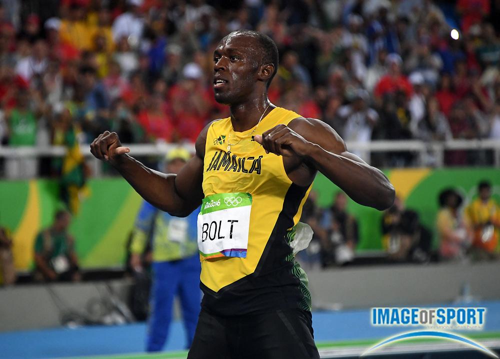 Aug 18, 2016; Rio de Janeiro, Brazil; Usain Bolt (JAM) celebrates after winning the 200m in 19.78 during the 2016 Rio Olympics at Estadio Olimpico Joao Havelange.