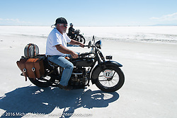 Rick Salisbury riding his 1927 Henderson after the Panorama portrait on the Bonneville Salt Flats during stage 12 (299 m) of the Motorcycle Cannonball Cross-Country Endurance Run, which on this day ran from Springville, UT to Elko, NV, USA. Wednesday, September 17, 2014.  Photography ©2014 Michael Lichter.