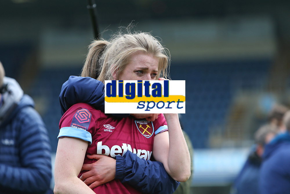 Football - 2018 / 2019 SSE Women's FA Cup - Semi Final: Reading FC Women vs. West Ham United Women<br /> <br /> An emotional Kate Longhurst of West Ham celebrates after winning the penalty shoot out at Adams Park <br /> <br /> COLORSPORT/SHAUN BOGGUST