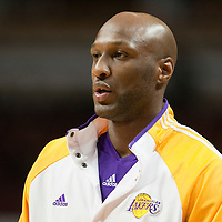 15 December 2009: Los Angeles Lakers forward Lamar Odom is seen prior to the Los Angeles Lakers 96-87 victory over the Chicago Bulls at the United Center, in Chicago, Illinois, USA.