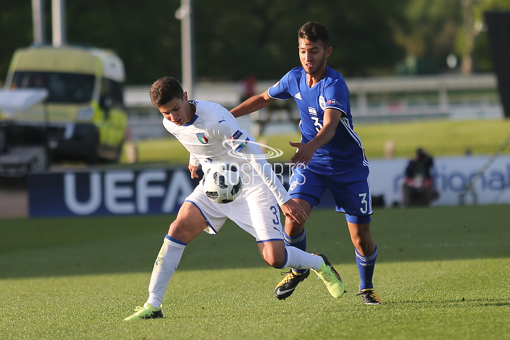 Giorgio Brogni of Italy (3) and Hanan Hen Biton of Israel (3) during the UEFA European Under 17 Championship 2018 match between Israel and Italy at St George's Park National Football Centre, Burton-Upon-Trent, United Kingdom on 10 May 2018. Picture by Mick Haynes.