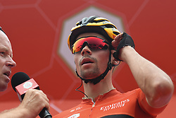 March 1, 2019 - Ajman, United Arab Emirates - The Leader Red Jersey (General Classification), Primoz Roglic of Slovenia and Team Jumbo - Visma, seen at the start line of the sixth Rak Properties Stage of UAE Tour 2019, a 180km with a start from Ajman and finish in Jebel Jais. .On Friday, March 1, 2019, in Ajman, Ajman Emirate, United Arab Emirates. (Credit Image: © Artur Widak/NurPhoto via ZUMA Press)