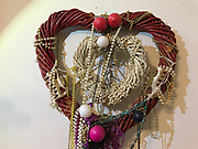 Hanging double Hearts- Big red one on outside smaller white one on inside. Made of plastic straw like material. In Souls Grown Deep Book by William Arnett- 19 in wide- 9x9 smaller heart. Adorned with bobbers and mardi gras beads<br /> <br /> THIS IS PART OF OUR COLLECTION OF MARGARET'S GROCERY AND REV. H.D. DENNIS - ART WORKS in Mississippi Folk Art Foundations Collection <br /> <br /> Ms. Altman is the Founder and Director of the Mississippi Folk Art Foundation a non profit, that is dedicated to preserving Margaret's Grocery. A visionary outdoor folk environment in Vicksburg Mississippi.<br />  to see some of the collection documented by William Arnett in his book Souls Grown Deep volume 2 please see see link below.<br /> <br /> http://www.soulsgrowndeep.org/artist/rev-harmon-d-dennis<br /> <br /> <br /> https://www.gofundme.com/SaveMargaretsGrocery?lang=en-US
