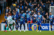Plymouth Argyle midfielder Graham Carey (10) taks a free kick which goes over the bar during the EFL Sky Bet League 1 match between Wycombe Wanderers and Plymouth Argyle at Adams Park, High Wycombe, England on 26 January 2019.