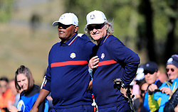 Team USA's Samuel L. Jackson (left) and Kurt Russell (right) during the 2018 Ryder Cup Celebrity Match at Le Golf National, Saint-Quentin-en-Yvelines, Paris.
