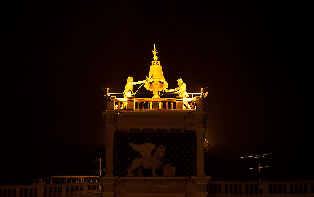 VENICE, ITALY - MARCH 31:  Bronze Moors on top of the Clock tower are the only part illuminated of  St Mark's Square while lights are switched off for Earth Hour 2012 on March 31, 2012 in Venice, Italy. According to organizers, Earth Hour 2012 has participants including individuals, companies and landmarks in 147 countries and territories and over 5,000 cities agreeing to switch off their lights for one hour. The Brandenburg Gate, the Eiffel Tower in Paris, Big Ben Clock Tower in London, the Christ the Redeemer statue in Rio de Janeiro and the Empire State Building in New York are among the monuments whose operators have agreed to participate in the demonstration.  (Photo by Marco Secchi/Getty Images) San Marco is one of the six sestieri of Venice, lying in the heart of the city.