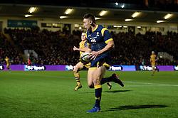 Josh Adams of Worcester Warriors breaks free before scoring a try - Mandatory by-line: Dougie Allward/JMP - 04/11/2016 - RUGBY - Sixways Stadium - Worcester, England - Worcester Warriors v Bristol Rugby - Anglo Welsh Cup