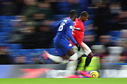 A slow shutter shot of Forward Odion Ighalo of Manchester United  during the English Premier League match between Chelsea and Manchester United, Monday, Feb. 17, 2020, at Stamford Bridge, in London, United Kingdom. Manchester United defeated Chelsea 2-0.  (Mitchell Gunn/Image of Sport)
