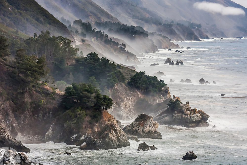 Big Sur Coast along Highway 1, on a wintery day with clouds and fog, California