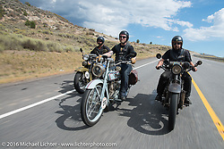 """Marcin Grela (L) of Poland riding his 1936 Harley-Davidson VLH alongside Frankfurt, Germany Harley-Davidson dealer Thomas Trapp on his 1916 Harley-Davidson F and Andreas """"Andy"""" Kaindl of Southern Germany riding his 1924 Henderson Deluxe during stage 11 (289 miles) of the Motorcycle Cannonball Cross-Country Endurance Run, which on this day ran from Grand Junction, CO to Springville, UT., USA. Tuesday, September 16, 2014.  Photography ©2014 Michael Lichter."""