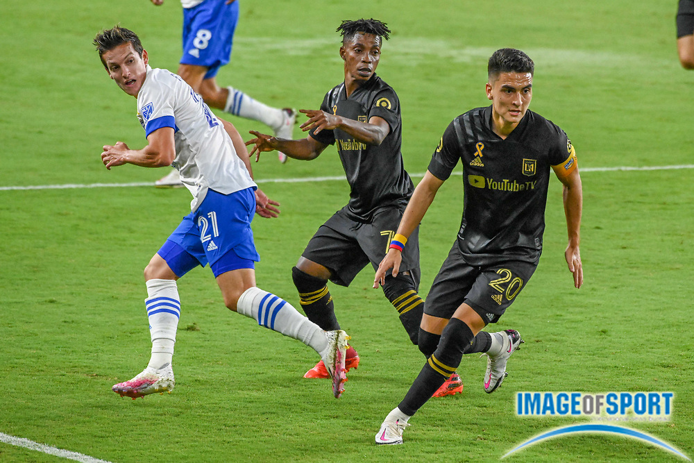 LAFC midfielder Eduard Atuesta (20) awaits the ball during a MLS soccer game, Sunday, Sept. 27, 2020, in Los Angeles. The San Jose Earthquakes defeated LAFC 2-1.(Dylan Stewart/Image of Sport)