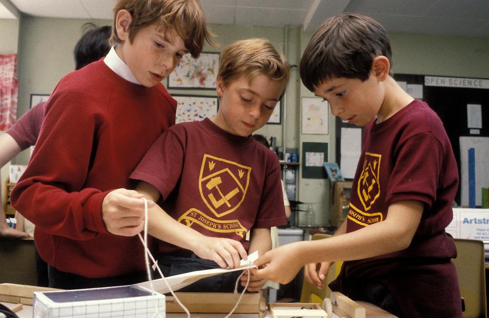 Boys in CDT class at secondary school; UK
