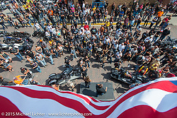 Live charity auction before the start of the Legends Ride from Deadwood during the 75th Annual Sturgis Black Hills Motorcycle Rally.  SD, USA.  August 3, 2015.  Photography ©2015 Michael Lichter.