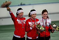ISU World Cup Speed Skating, 30. januar 2016. Seierspallen 500 meter kvinner. Fra venstre, Hong Zhang, Kina, Jing Yu, Kina, Heather McLean, Canada.  Foto: Tore Fjermestad