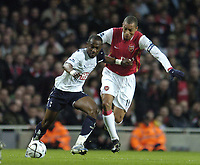 Photo: Olly Greenwood.<br />Arsenal v Tottenham Hotspur. Carling Cup Semi Final 2nd leg 31/01/2007. Spurs Didier Zokora and Arsenal's Gilberto