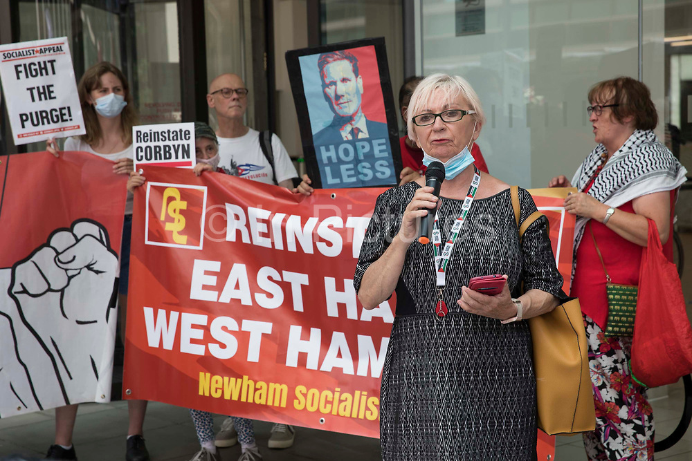 Sheila Day, former Hove Labour councillor, addresses supporters of left-wing Labour Party groups at a protest lobby outside the partys headquarters on 20th July 2021 in London, United Kingdom. The lobby was organised to coincide with a Labour Party National Executive Committee meeting during which it was asked to proscribe four organisations, Resist, Labour Against the Witchhunt, Labour In Exile and Socialist Appeal, members of which could then be automatically expelled from the Labour Party.