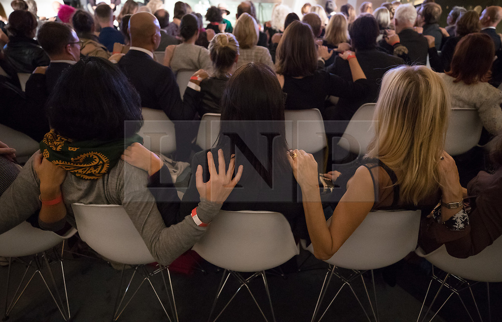 © Licensed to London News Pictures. 04/10/2017. London, UK. Audience members participate in a community work with Marina Abramovic during 'Artist Talks' hosted by Fondation Beyeler and UBS. Held at the Serpentine Galleries, the event heralds the start of Frieze Art Week. Photo credit: Peter Macdiarmid/LNP