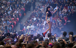 Halsey on stage during Capital's Summertime Ball. The world's biggest stars perform live for 80,000 Capital listeners at Wembley Stadium at the UK's biggest summer party.