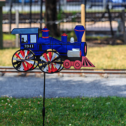 Strasburg, PA - July 19, 2016: A small decorative wind catcher on the grounds at the Strasburg Rail Road.