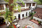 The courtyard of a hotel and restaurant in Cochin, Kerala, India