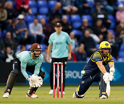 Glamorgan's David Lloyd reverse sweeps<br /> <br /> Photographer Simon King/Replay Images<br /> <br /> Vitality Blast T20 - Round 14 - Glamorgan v Surrey - Friday 17th August 2018 - Sophia Gardens - Cardiff<br /> <br /> World Copyright © Replay Images . All rights reserved. info@replayimages.co.uk - http://replayimages.co.uk