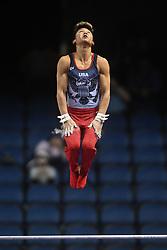 March 2, 2019 - Greensboro, North Carolina, US - YUL MOLDAUER competes on the high bar at the Greensboro Coliseum in Greensboro, North Carolina. (Credit Image: © Amy Sanderson/ZUMA Wire)