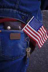 back pocket with a small American flag sticking out