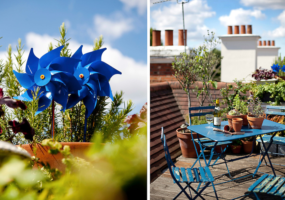 The rooftop terrace of Parfumier Lyn Harris in Primrose Hill, London