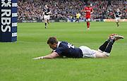15.02.2015. Edinburgh. RBS 6 Nations 2015 Scotland v Wales.  Scotland's Stuart Hogg scoring a try.  from Murrayfield Stadium, Edinburgh.