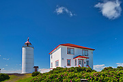 Ligthouse on the shore of the St. Lawrence River. Bas St. Laurent Region. Île Verte lighthouse is the oldest on the St. Lawrence<br />L'Isle-Verte<br />Quebec<br />Canada