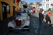 Vintage MG car on show at the annual Michaelmas Fair in the small market town of Bishops Castle, England, United Kingdom.