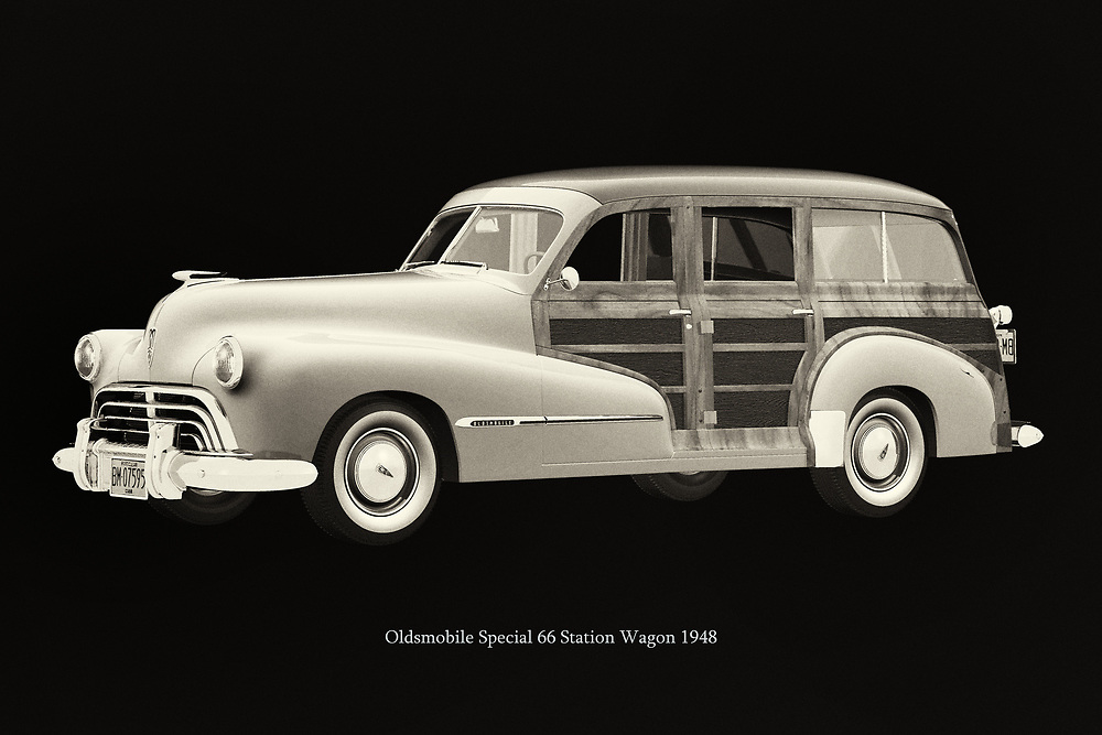 The 1948 Oldsmobile Special 66 Station Wagon was a widely used car in the U.S.A. in the 1950s by families and as a work vehicle; later, many derivatives of the 1948 Oldsmobile Special 66 Station Wagon were produced by other manufacturers. –<br /> -<br /> BUY THIS PRINT AT<br /> <br /> FINE ART AMERICA<br /> ENGLISH<br /> https://janke.pixels.com/featured/oldsmobile-special-66-station-wagon-1948-jan-keteleer.html<br /> <br /> WADM / OH MY PRINTS<br /> DUTCH / FRENCH / GERMAN<br /> https://www.werkaandemuur.nl/nl/shopwerk/Oldsmobile-Special-66-Station-Wagon-1948/788329/132?mediumId=15&size=75x50<br /> -<br /> -