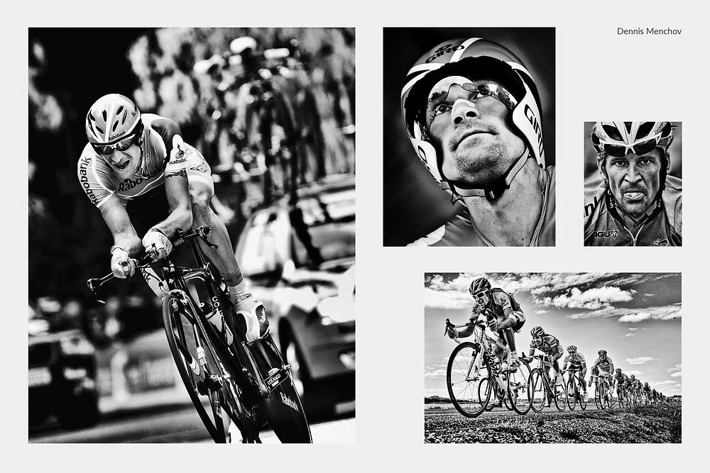 Frankrijk. Cholet, 08-07-2008.<br /> Tour de France. Tijdrit. Rabobank renner Denis Menchov heeft een goede tijdrit gereden en is terug voor het klassement.<br /> Nederland. Rotterdam, 03-07-2010<br /> Tour de France. De Proloog. Rabobank renner Denis Menchov aan de start voor zijn tijdrit.<br /> Spanje. Gerona, 09-07-2009.<br /> Tour de France. Etappe 6. Raborenner Denis Menchov . <br /> Frankrijk. Perpignan, 08-07-2009.<br /> Tour de France. Etappe 5. Rabobank wielrenner Denis Menchov is zwaar gevallen en rijdt met plijster op knie en arm. Achter hem rijdt Kenny van Hummel van  Skil-Shimanode.