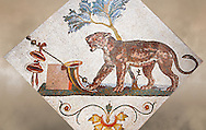 Roman mosaics from Pompeii showing a Panther with Dionysus symbol (Pantera con simboli dionisiaci) from the Santangelo collection, Naples Archaeological Museum, Italy ..<br /> <br /> If you prefer to buy from our ALAMY PHOTO LIBRARY  Collection visit : https://www.alamy.com/portfolio/paul-williams-funkystock/roman-mosaic.html - Type -   Naples   - into the LOWER SEARCH WITHIN GALLERY box. Refine search by adding background colour, place, museum etc<br /> <br /> Visit our ROMAN MOSAIC PHOTO COLLECTIONS for more photos to download  as wall art prints https://funkystock.photoshelter.com/gallery-collection/Roman-Mosaics-Art-Pictures-Images/C0000LcfNel7FpLI
