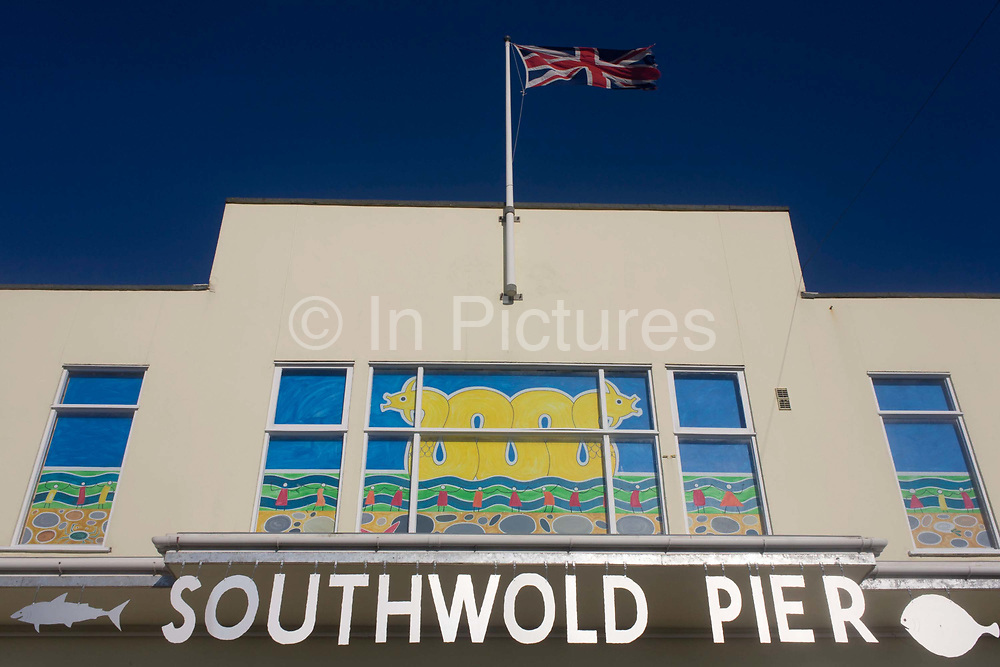 Whilst many English seaside piers are in decline, Southwold Pier is enjoying renewed popularity. The pier sign is at the Suffolk seaside town's seafront. Southwold Pier was built in 1900, and, at 247 metres (about 810 feet) was long enough to accommodate the Belle steamers which carried trippers along the coast. In World War 2, it was weakened by having two breaches blown in it: one by the Royal Engineers to hinder a possible German invasion, and the other by a loose sea-mine. Southwold is a small town on the North Sea coast, in the Waveney district of the English county of Suffolk. It is located on the North Sea coast at the mouth of the River Blyth within the Suffolk Coast and Heaths Area of Outstanding Natural Beauty. The town is around 11 miles (18 km) south of Lowestoft and 29 miles (47 km) north-east of Ipswich.