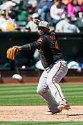 San Francisco Giants third baseman Pablo Sandoval (48) throws to first base during a MLB exhibition game against the Oakland Athletics at Oakland Coliseum in Oakland, California, on March 25, 2018. (Stan Olszewski/Special to S.F. Examiner)