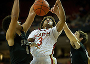 Mark Howell (3) of South Grand Prairie is fouled while driving to the basket against Cibolo Steele during the UIL Conference 5A semifinals at the Frank Erwin Center in Austin on Friday, March 8, 2013. (Cooper Neill/The Dallas Morning News)