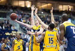 Berlin, Germany, 15.05.2015:<br />Basketball Bundesliga Playoffs Viertelfinale 3. Spiel 2014 / 2015 - ALBA Berlin - EWE Baskets Oldenburg.<br /><br />Robin Smeulders (Oldenburg #12)  -  v. Leon Radosevic (Alba #43), Jonas Wohlfarth-Bottermann (Alba #18), Reggie Redding (Alba #15) *** Local Caption *** © pixathlon