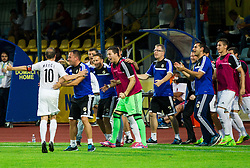 Igor Matic and team of Cukaricki celebrate after scoring first goal for Cukaricki during 1st Leg football match between NK Domzale (SLO) na FC Cukaricki (SRB) in 1st Round of Europe League 2015/2016 Qualifications, on July 2, 2015 in Sports park Domzale,  Slovenia. Photo by Vid Ponikvar / Sportida