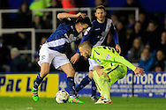 Stephen Gleeson of Birmingham City (L) in action with Jiri Skalak of Brighton & Hove Albion ® challenging.<br /> Sky Bet Football League Championship match, Birmingham City v Brighton & Hove Albion at St.Andrew's Stadium in Birmingham, the Midlands on Tuesday 5th April 2016.<br /> Pic by Ian Smith, Andrew Orchard Sports Photography.