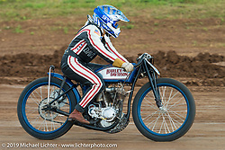 Brittney Olsen rides her 1923 Harley-Davidson board track racer in the Pappy Hoel Half Mile Classic at the Sturgis Fairgrounds during the annual Sturgis Black Hills Motorcycle Rally. SD, USA. August 6, 2014.  Photography ©2014 Michael Lichter.