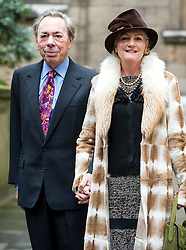 © London News Pictures. 05/03/2016. London, UK. ANDREW LLOYD WEBBER and wife MADELEINE attend a ceremony to mark the wedding of Rupert Murdoch and Jerry Hall held at St Brides Church on Fleet Street,  central London on February 05, 2016. . Photo credit: Ben Cawthra /LNP