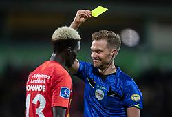Mohammed Diomande (FC Nordsjælland) får advarsel af dommer Mikkel Redder under kampen i 3F Superligaen mellem FC Nordsjælland og AC Horsens den 19. februar 2020 i Right to Dream Park, Farum (Foto: Claus Birch).