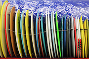 Stacked Surfboards In Huntington Beach California
