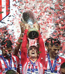 August 16, 2018 - Tallinn, Estonia - Antoine Griezmann of Atletico Madrid celebrates with the trophy following the UEFA Super Cup between Real Madrid and Atletico Madrid at Lillekula Stadium on August 15, 2018 in Tallinn, Estonia. (Credit Image: © Raddad Jebarah/NurPhoto via ZUMA Press)