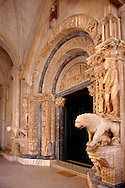 Romaesque doorway sculptures by the Croatian architect Master Radovan. Saint Lawrence Cathedral - Trogir - Croatia .<br /> <br /> Visit our MEDIEVAL PHOTO COLLECTIONS for more   photos  to download or buy as prints https://funkystock.photoshelter.com/gallery-collection/Medieval-Middle-Ages-Historic-Places-Arcaeological-Sites-Pictures-Images-of/C0000B5ZA54_WD0s